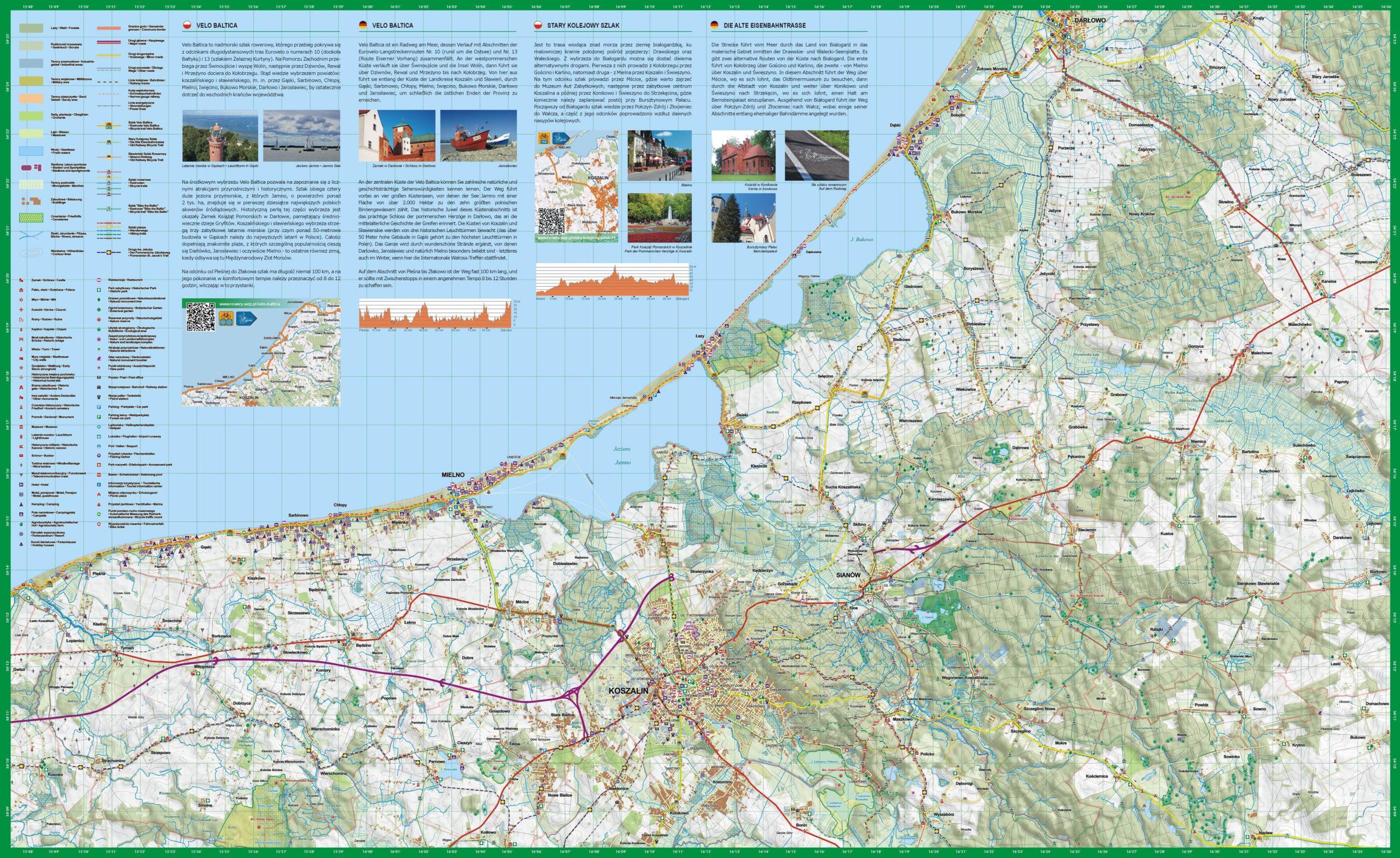 Mapa rowerowa VELO BALTICA na Pomorzu Środkowym – Powiat Koszaliński