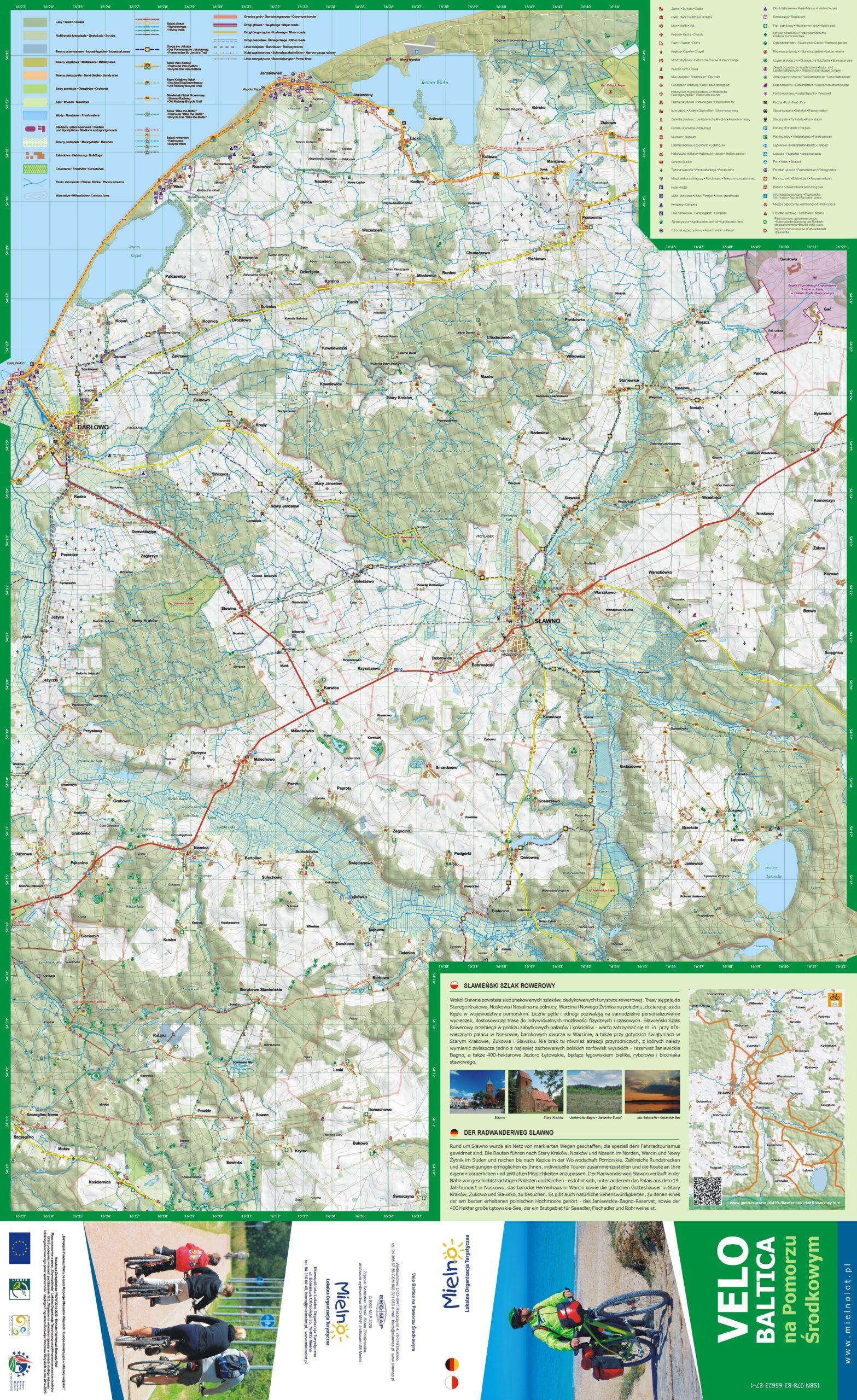 Mapa rowerowa Velo Baltica na Pomorzu Środkowym – Powiat Sławieński